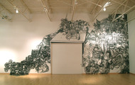 <p>Still Life#12, 1/4'' Black Masking Tape on Mylar and Wall, 24'x48', 2012</p>