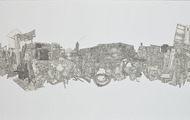 <p>Still Life#6, Pen drawing Collage on Paper, 24''x60'', 2010</p>