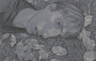 <p><em>Fall Forward</em>, black and white chalk on paper, 19.5 x 19.5 inches, 2011</p>