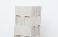 "<p><em>Bracketing,&nbsp;</em>2013, cast urethane foam, cinderblocks, talc, 16""x16""x40""</p>