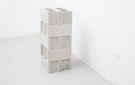 "<p><em>Bracketing, </em>2013, cast polturethane foam, cinderblocks, talc,16""x16""x40""</p>"