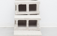 "<p><em>Long Exposure,&nbsp;</em>2013, cast urethane foam, cinderblocks, talc, 40""x16""x32""</p>