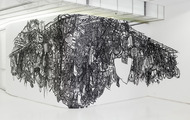<p>Still life with Electric Cords, Black masking tape on Mylar, Dimension Vary,2013</p>