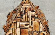 """<p style=""""text-align: center;""""><strong>Olive and Avocado Wood Pyramid</strong></p> <p style=""""text-align: center;"""">wood and resin</p> <p style=""""text-align: center;"""">20 X 30 X 30</p>"""