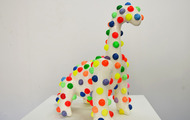 "<p>Bubblewrap Dinosaur / 2014 / mixed media / 15 x 14 x 8""</p>"