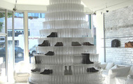 <p>Maison Martin Margiela Champagne Shoe Tower (commission) / 2007 / 7000 champagne glasses, giant mirror, plexiglass / Beverly Hills, CA / 16 x 8' </p>