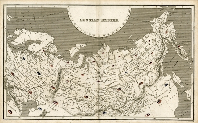 """<div id=""""artwork_info""""> <div></div> <div id=""""artwork_title""""><strong><span class=""""accent"""">Russian Empire - Wonder Atlas</span></strong></div> <div></div> <div id=""""artwork_created"""">2012</div> <div id=""""artwork_media"""">collage on antique map</div> <div id=""""artwork_dimensions"""">41 x 27 cm</div> </div>"""