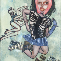 """<p><em>Violent Femme 3</em>, 2012, 16""""x12"""", Ink, acrylic, oil, watercolor, watercolor ink, photo transfer and dura-lar on glass.</p>"""