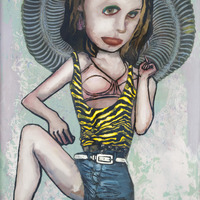 "<p><em>Violent Femme 4</em>, 2012, 16""x12"", Ink, acrylic, oil, watercolor, watercolor ink, photo transfer and dura-lar on glass.&nbsp;</p>"