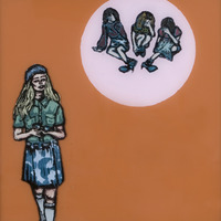 "<p><em>She Made It After All 8</em>, 2009, 8""x8"", Ink, acrylic and screenprint on two panes of glass.&nbsp;</p>"