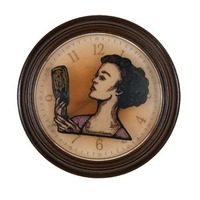 """<p><em>The Hours 1</em>, 2009, 9""""diam. Ink, acrylic and polyurethane in clock.</p> <p>(Another version of same image makes The Hours 7)</p>"""