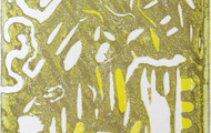 <p>Boys on the run (Froggy comes to town), 2012-2013 / Linocut on paper / 3 x 4 inches</p>