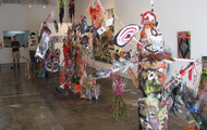 <p><em>paintallica bark savages</em>, finished installation, country club projects, los angeles, 2009.</p>