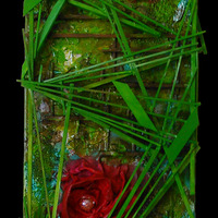 """<p><span id=""""fbPhotoSnowliftCaption"""" class=""""fbPhotosPhotoCaption""""><span id=""""fbPhotoSnowliftCaption"""" class=""""fbPhotosPhotoCaption"""">The Rose 2 - 12""""x36"""" Mixed Media on Canvas. 2014</span></span></p> <p><span id=""""fbPhotoSnowliftCaption"""" class=""""fbPhotosPhotoCaption""""><span id=""""fbPhotoSnowliftCaption"""" class=""""fbPhotosPhotoCaption""""> My 5th marble track. <span id=""""fbPhotoSnowliftCaption"""" class=""""fbPhotosPhotoCaption"""">The structure built around the textured abstract parts is a track that glass marbles can roll down through the painting.</span> It features 2 super textured roses with Bee, ladybug, and rain drop themed marbles that roll through the vines.</span></span></p>"""