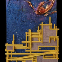 "<p>Yellow City - 6""x24"" Mixed media on canvas. 2014</p>