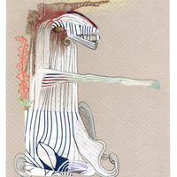 <p>White Knight, 2014.  Mixed media and found objects on fabriano paper, 6 x 8 inches</p>