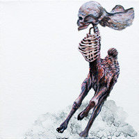 <p>Running Buckskull, 2011.&nbsp; Watercolor, gouache, and ink on stretched paper, 8 x 8 inches</p>