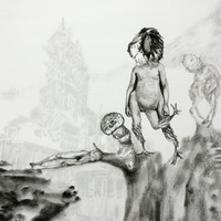 <p>Fuyapasa Landscape 1 : Fattythrush at the Gates (detail 2), 2011.&nbsp; Graphite on bristol paper, 36 x 156 inches</p>