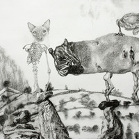 <p>Fuyapasa Landscape 1 : Fattythrush at the Gates (detail 4), 2011.&nbsp; Graphite on bristol paper, 36 x 156 inches</p>