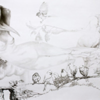 <p>Fuyapasa Landscape 2 : Girly Billy on the Mesa, 2011.  Graphite on bristol paper, 144 x 36 inches</p>