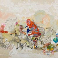 <p>Natural Order, 2008.  Watercolor, gouache, and ink on raw silk, 144 x 42 inches.  Photo credit Kris Graves.</p>