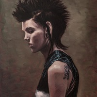 """<p style=""""text-align: center;"""">Lisbeth Salander</p> <p style=""""text-align: center;"""">8"""" x 10""""</p> <p style=""""text-align: center;"""">Oil on panel</p> <p style=""""text-align: center;""""><span>(private collection)</span></p>"""
