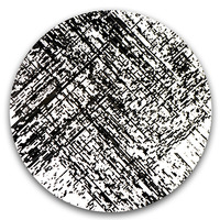 "<p>""Decompose"" / magnetic cassette tape coating on panel / 24"" diameter / 2014</p>"