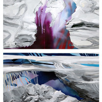 """<p><em><strong>Sand Strata,</strong></em>2011. Oil, acrylic, and spray paint on paper on panels, 44 x 30"""" (diptych)</p>"""