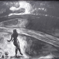 """<p style=""""text-align: center;"""">Meeting the River</p> <p style=""""text-align: center;"""">Powdered Graphite on Board&nbsp;&nbsp;&nbsp;&nbsp;&nbsp; 45 3/8"""" x 34""""&nbsp;&nbsp;&nbsp;&nbsp;&nbsp; August 2006</p>"""