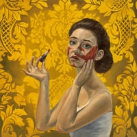 "<p style=""text-align: center;""><em>She Got a Hold of my Lipstick</em>, 30 x 30 in, 72.6 x 72.6 cm,  oil on canvas,  2010</p>