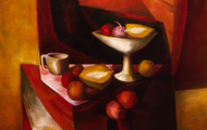 <p><em>Still Life With Compote</em>, 1962, Oil on canvas, 38 X 32 inches.</p>