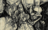 <p><em>Adam & Eve</em>, 1961, Charcoal on masonite, 18 X 16 inches.</p>