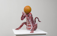 "<p>Flesh Monkey with Orange Head   28 x 25 x 26""    multimedia     2015</p>
