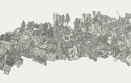 <p>Still-life #8, Pen drawing collage on paper, 18''x60'', 2011</p>