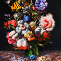 """<p>""""Around Blacks, Never Relax, With Tulips"""" 2014, Oil/Linen, 20x16""""</p>"""