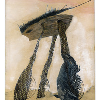 <p>Battle Wheeler, 2014.  Mixed media and found objects on wood panel, 8 x 10 inches</p>