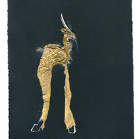 <p>Spotted Jackalope, 2014.  Mixed media and found objects on fabriano paper, 8 x 10 inches</p>