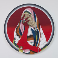 <p>Archeology, 2015, 24&rdquo; in diameter, Acrylic and colored pencil on canvas</p>