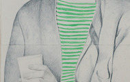 <p><em>Andy (coffee)</em>, 60 x 22 inches, pastel and color pencil on paper, 2015</p>