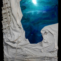 """<p>Beyond Abstraction 9 - 40""""x60""""x5"""" Mixed media on cradled birch panel. 2015</p> <p>My 31st marble track. The wrinkled texture is made from sculpted pieces of canvas and old wedding dresses. The structure built around the textured abstract part is a track that glass marbles can roll down through the painting. The texture in the corner is folded back to reveal a super smooth and glossy Aqua and deep blue. The deep blue is infused with 8 antique diamonds. Standing on the track are 2 miniature people looking out into our world, just as we look into theirs. This piece comes with 5 hand blown orange glass marbles.</p>"""