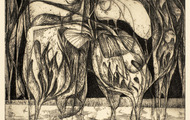 <p><em>Plants We Are Not, Owls, Yes</em>, 1964, Etching on paper, 9 X 7.5 inches.</p>