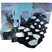 """<p><em><strong>Swimming through stone,</strong></em>2015. Oil and acrylic on collaged panels, 42 x 48"""" </p>"""