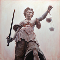 """<p style=""""text-align: center;"""">Lady Justice</p> <p style=""""text-align: center;"""">36"""" x 36""""</p> <p style=""""text-align: center;"""">Oil on canvas</p> <p style=""""text-align: center;"""">(private collection)</p>"""