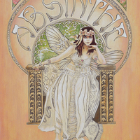 """<p style=""""text-align: center;"""">Theda Bara Absinthe Fairy</p> <p style=""""text-align: center;"""">16"""" x 20""""</p> <p style=""""text-align: center;"""">Mixed media on paper</p>"""