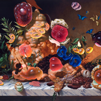"""<p>""""Still Life with Meermin and Jelly Rings"""" 2015, Oil/Linen, 48x72""""</p>"""