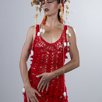 <p>Red Mermaid Dress and Dragon Crown 3</p> <p>Red Mermaid Dress: Hand Crocheted Acrylic Yarn</p> <p>Dragon Crown: Century Plant Seed Pods, Fabric, Gold Leafing, Silk Worm Cacoons</p> <p>Model: Harmondb</p> <p>Photography: Jesse Paulk © 2015</p>