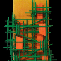 """<p>City at Noon - 6""""x24"""" Mixed media on stretched canvas. 2015</p> <p>(23k gold leaf, Acrylic, iridescent paint, balsa wood, loose canvas, glass marbles)</p> <p>My 37th marble track.The structure built around the textured abstract parts is a track that glass marbles can roll down through the painting.</p>"""
