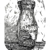 """<p style=""""text-align: center;""""><span>Farmers dairy</span></p> <p style=""""text-align: center;""""><span>5.5""""by4.25"""" notebook ink drawing. 2014.</span></p>"""