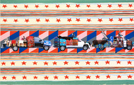 """<p><span>Wendy Red Star</span><br /><em>iilaalée = car (goes by itself) + ii = by means of which + dáanniili = we parade</em><br /><span>nine-color lithograph with archival pigment ink photographs</span><br /><span>24 x 38 inches</span><br /><span>edition of 20</span></p> <p><span><span>CSP-15-104 A nine-color lithograph on Somerset Satin White with laser cut archival pigment ink photographs printed on Moab Entrada. Image & paper size 24 x 38 inches. Edition of 20. Collaborating printer, Frank Janzen, TMP. Started August 22, 2015; completed January 23, 2016.</span></span></p> <p></p> <p><a href=""""http://crowsshadow.org/print/iilaalee/"""">http://crowsshadow.org/print/iilaalee/</a></p>"""