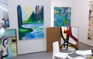<p>Three paintings on the left at Untitled Art Base Miami 2015 with Luis De Jesus Gallery: Top Freee Petula, By Morning We Jumped Into The Crisp Water and Hanz Electro Technik (Private Collections)</p>